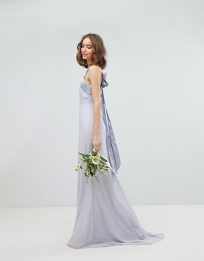 photo Bow Back Pleated Maxi Bridesmaid Dress by TFNC Tall, color Ice - Image 2