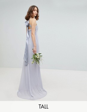 photo Bow Back Pleated Maxi Bridesmaid Dress by TFNC Tall, color Ice - Image 1