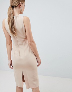 photo Formal Midi Dress with Side Detail by Forever Unique, color Beige - Image 2