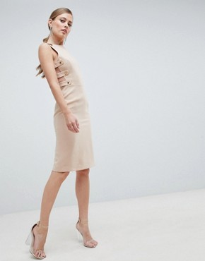 photo Formal Midi Dress with Side Detail by Forever Unique, color Beige - Image 1
