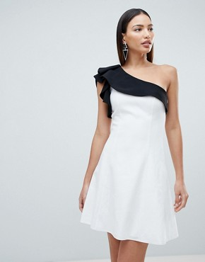 photo Mono One Shoulder Mini Dress by Forever Unique, color White - Image 1
