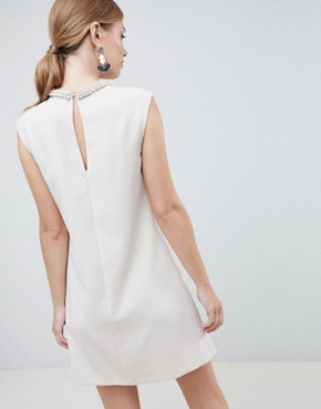 photo Embellished Neck Mini Dress by Forever Unique, color White - Image 2