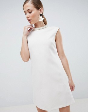 photo Embellished Neck Mini Dress by Forever Unique, color White - Image 1