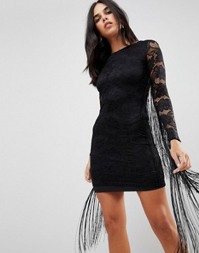 photo Lace Dress with Tassel Detail by Forever Unique, color Black - Image 1
