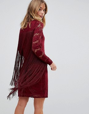 photo Lace Dress with Tassel Detail by Forever Unique, color Red - Image 2