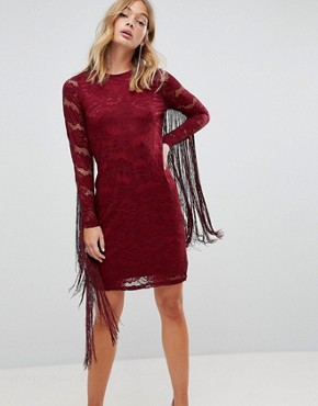 photo Lace Dress with Tassel Detail by Forever Unique, color Red - Image 1