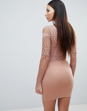 photo Mesh and Cut Out Mini Bodycon Dress by Forever Unique, color Tan - Image 2