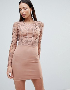 photo Mesh and Cut Out Mini Bodycon Dress by Forever Unique, color Tan - Image 1