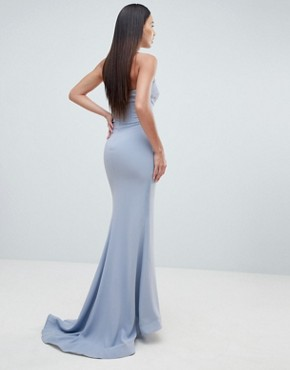 photo Halter Swirl Mesh Maxi Dress by Forever Unique, color Blue - Image 2