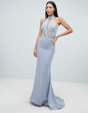 photo Halter Swirl Mesh Maxi Dress by Forever Unique, color Blue - Image 1