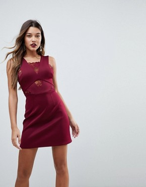 photo Lace Insert Cross Neck Scuba Shift Dress by ASOS, color Berry - Image 1