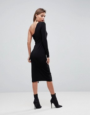 photo One Shoulder Crepe V-Bone Midi Bodycon Dress by ASOS, color Black - Image 2