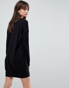 photo Knitted Oversized Crew Neck Dress by ASOS, color Black - Image 2