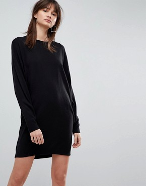 photo Knitted Oversized Crew Neck Dress by ASOS, color Black - Image 1