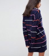 photo Knitted Oversized Crew Neck Dress in Bright Stripe by ASOS, color Multi - Image 2