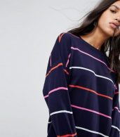 photo Knitted Oversized Crew Neck Dress in Bright Stripe by ASOS, color Multi - Image 3
