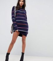 photo Knitted Oversized Crew Neck Dress in Bright Stripe by ASOS, color Multi - Image 4