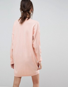 photo Knitted Oversized Crew Neck Dress by ASOS, color Blush - Image 2