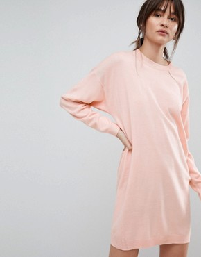 photo Knitted Oversized Crew Neck Dress by ASOS, color Blush - Image 1