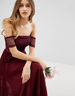 photo Bridesmaid Premium Guipure Lace Panelled Maxi Dress by ASOS, color Wine - Image 2
