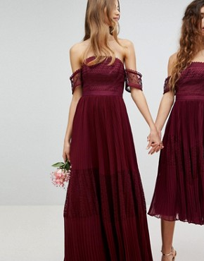 photo Bridesmaid Premium Guipure Lace Panelled Maxi Dress by ASOS, color Wine - Image 1