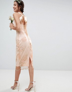 photo Bridesmaid Delicate Lace Pencil Dress with Embroidered Flowers by ASOS DESIGN, color Multi - Image 2