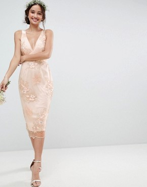 photo Bridesmaid Delicate Lace Pencil Dress with Embroidered Flowers by ASOS DESIGN, color Multi - Image 1