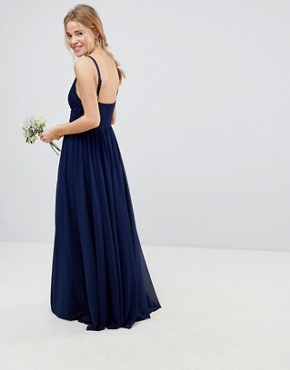 photo Bridesmaid Cami Maxi Dress with Lace Insert by ASOS DESIGN, color Navy - Image 2