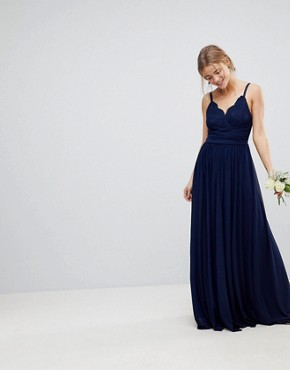 photo Bridesmaid Cami Maxi Dress with Lace Insert by ASOS DESIGN, color Navy - Image 1
