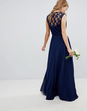 photo Bridesmaid Maxi Dress with Lace Insert by ASOS DESIGN, color Navy - Image 2