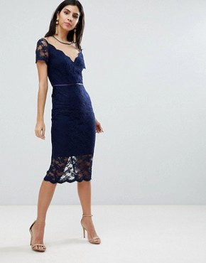 photo All Over Lace Pencil Midi Dress by ASOS, color Navy - Image 1