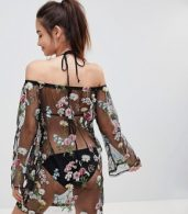 photo Bardot Floral Embroidered Mesh Beach Dress by South Beach, color Black Floral - Image 2