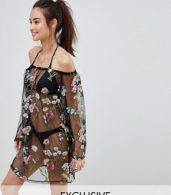 photo Bardot Floral Embroidered Mesh Beach Dress by South Beach, color Black Floral - Image 1