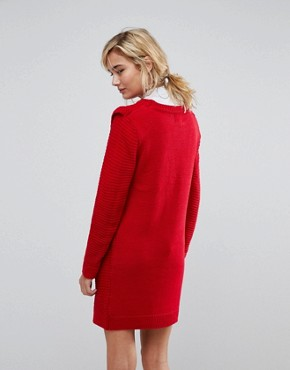 photo Ribbed Jumper Dress with Frill Shoulder Detail by Willow and Paige, color Red - Image 2