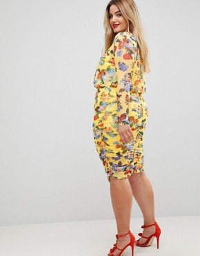 photo Printed Mesh Pencil Dress with Ruched Skirt by ASOS CURVE, color Multi - Image 2