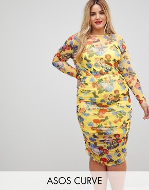 photo Printed Mesh Pencil Dress with Ruched Skirt by ASOS CURVE, color Multi - Image 1