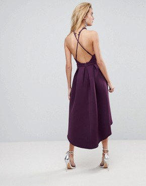 photo Halter Lace Top Dip Back Prom Dress by ASOS, color Plum - Image 2