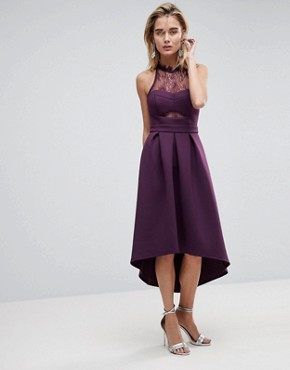 photo Halter Lace Top Dip Back Prom Dress by ASOS, color Plum - Image 1