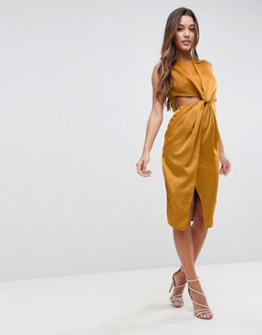 photo Twist Front Sexy Satin Pencil Dress with Cut Out by ASOS, color Gold - Image 1