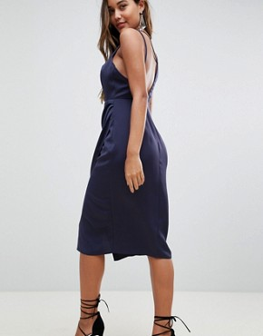 photo Cami Satin Midi Pencil Dress with Side Cut Out by ASOS, color Navy - Image 2