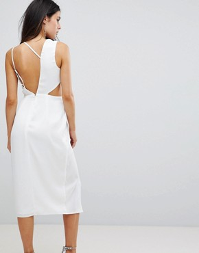 photo Cami Satin Midi Pencil Dress with Side Cut Out by ASOS, color White - Image 2