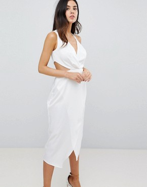 photo Cami Satin Midi Pencil Dress with Side Cut Out by ASOS, color White - Image 1