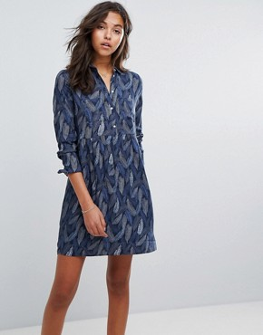 photo Button Up Feather Dress by Esprit, color Multi - Image 1
