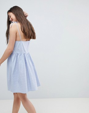 photo Button Through Casual Cami Mini Smock Sundress by ASOS, color Washed Blue - Image 2