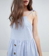photo Button Through Casual Cami Mini Smock Sundress by ASOS, color Washed Blue - Image 3