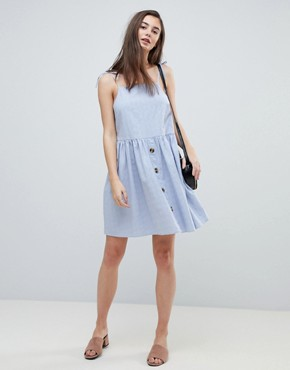 photo Button Through Casual Cami Mini Smock Sundress by ASOS, color Washed Blue - Image 4
