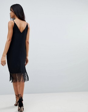 photo Embroidered Slip Midi Cami Dress with Fringing by ASOS, color Black - Image 2