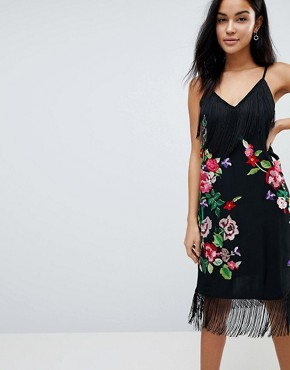 photo Embroidered Slip Midi Cami Dress with Fringing by ASOS, color Black - Image 1