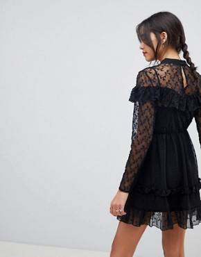 photo Dobby and Lace Insert Mini Skater Dress by ASOS, color Black - Image 2