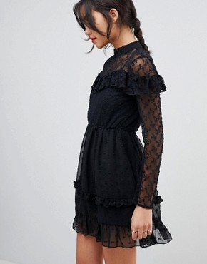 photo Dobby and Lace Insert Mini Skater Dress by ASOS, color Black - Image 1